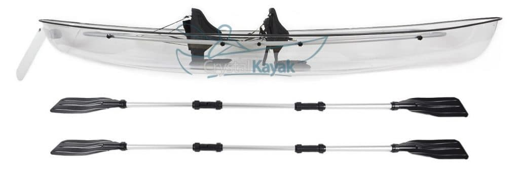 clear kayak with paddles