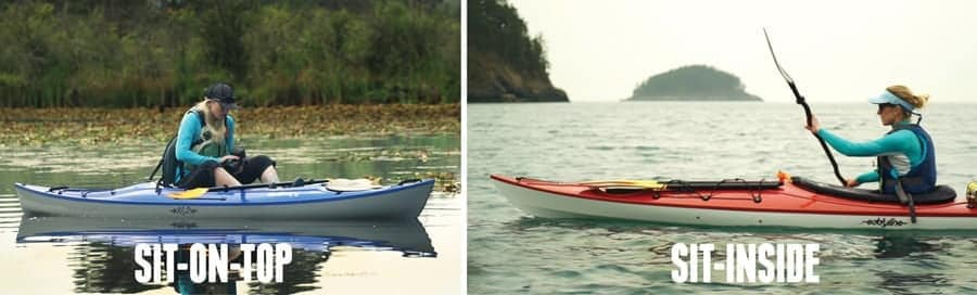 sit on top vs sit in kayaks