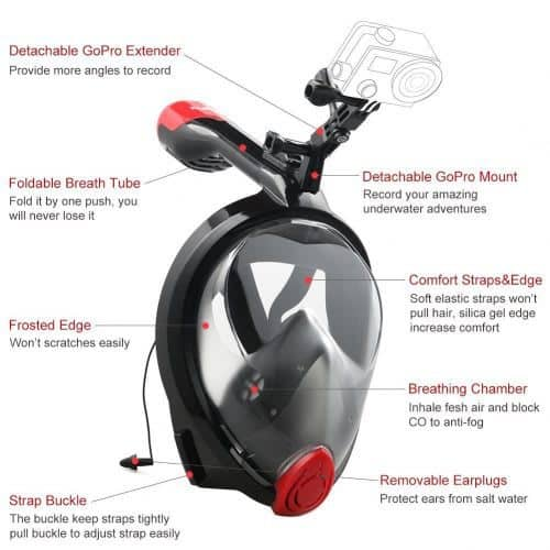 X-Lounger Go Pro Full Face 180° Snorkel Mask
