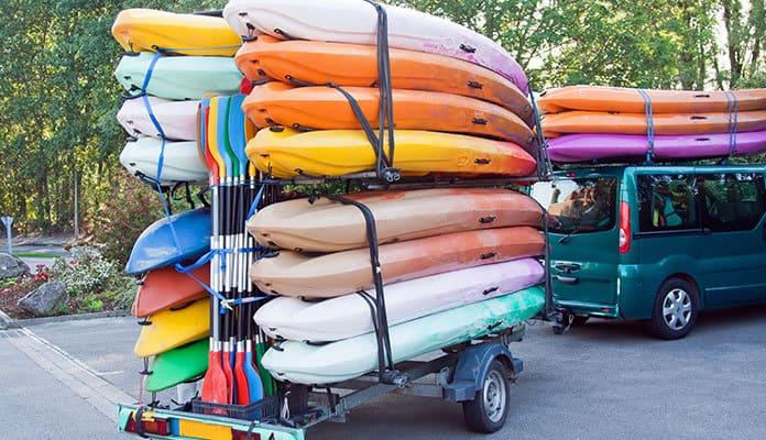 kayak trailer size