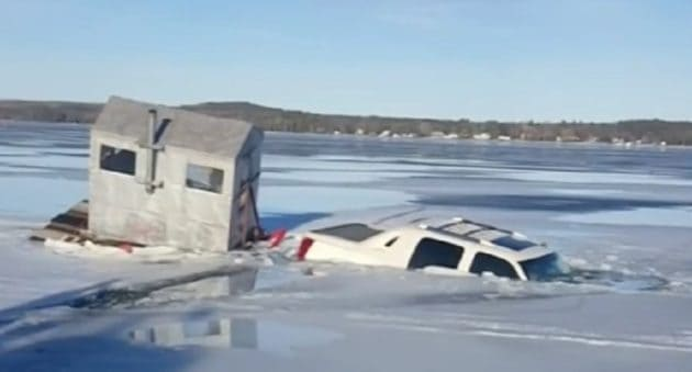 ice fishing shelter under water