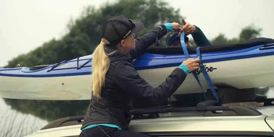 strap two kayaks to roof rack