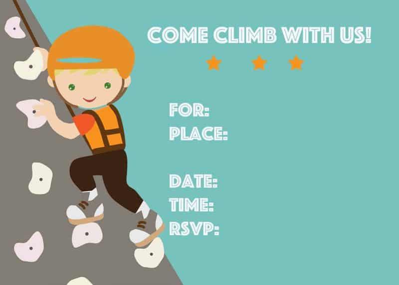 rock climbing party inviation 1