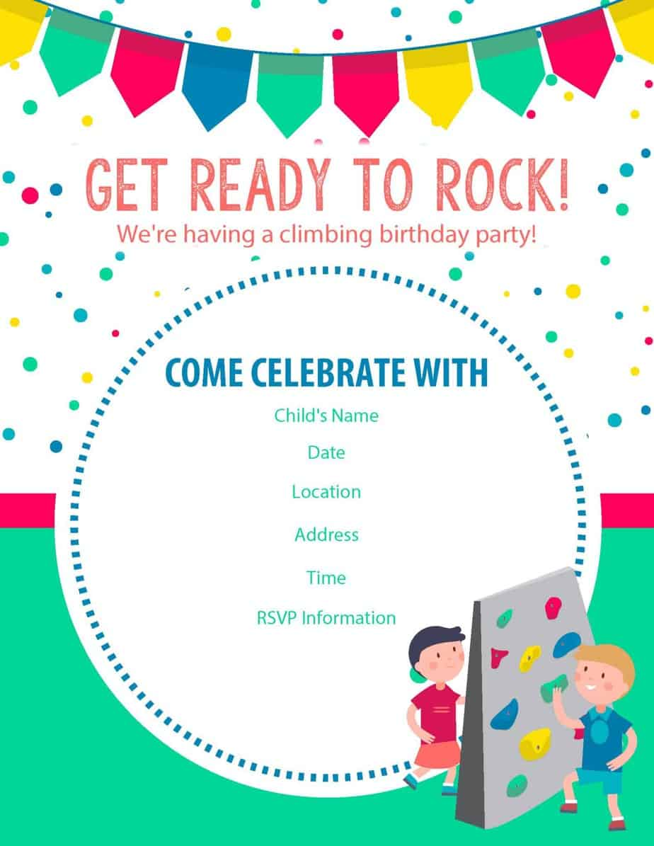 roc climbing birthday party invite 2